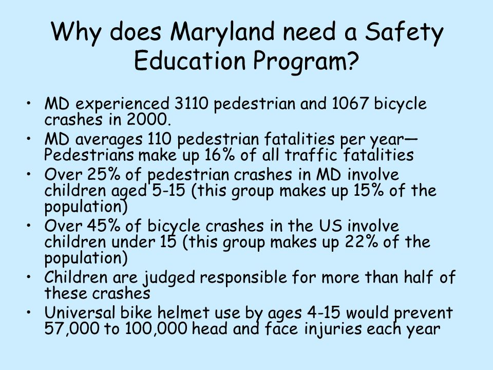 MD experienced 3110 pedestrian and 1067 bicycle crashes in 2000. MD averages 110 pedestrian fatalities per year— Pedestrians make up 16% of all traffi