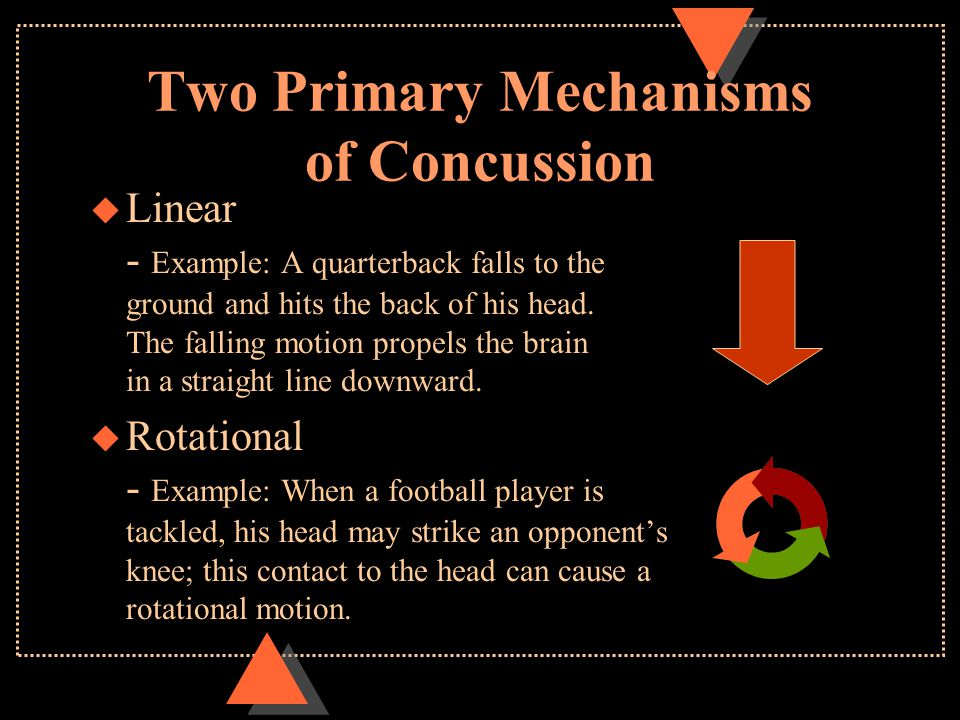 Two Primary Mechanisms of Concussion u Linear - Example: A quarterback falls to the ground and hits the back of his head. The falling motion propels t