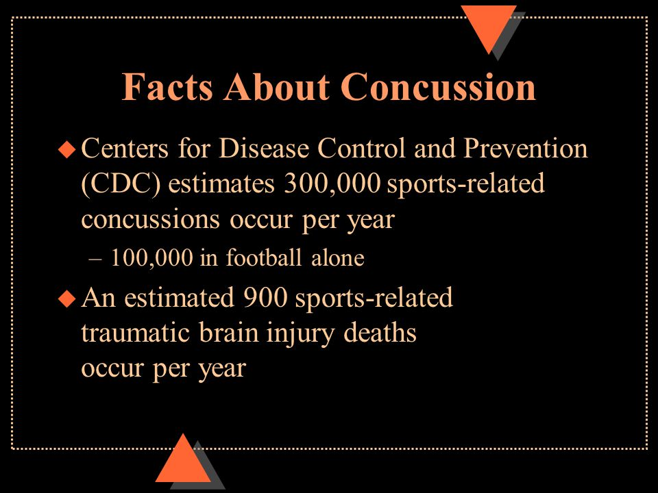 Facts About Concussion u Centers for Disease Control and Prevention (CDC) estimates 300,000 sports-related concussions occur per year –100,000 in foot
