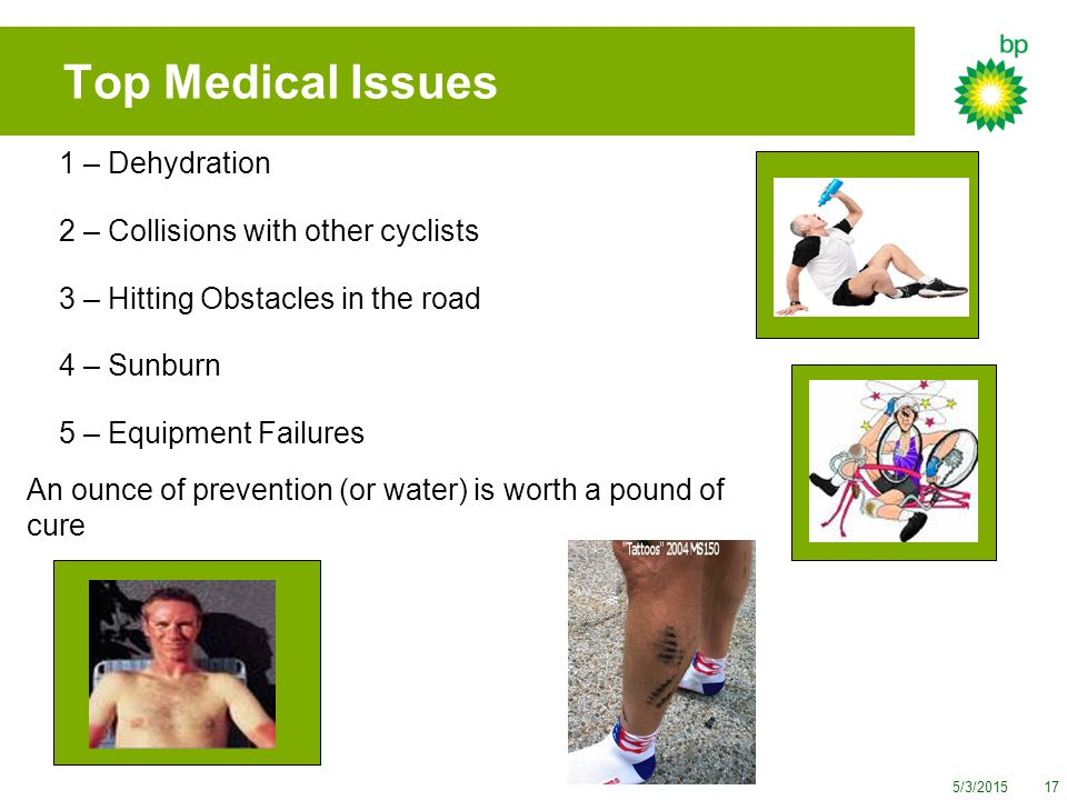 5/3/201517 1 – Dehydration 2 – Collisions with other cyclists 3 – Hitting Obstacles in the road 4 – Sunburn 5 – Equipment Failures An ounce of prevention (or water) is worth a pound of cure Top Medical Issues
