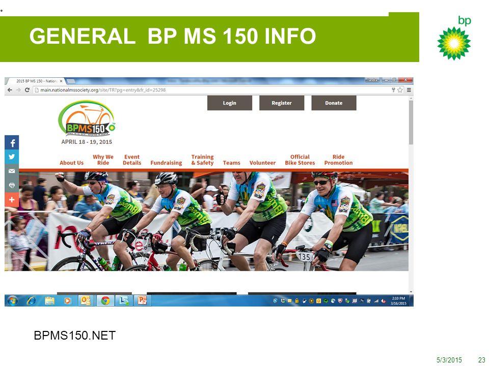 5/3/201523 GENERAL BP MS 150 INFO BPMS150.NET Donate