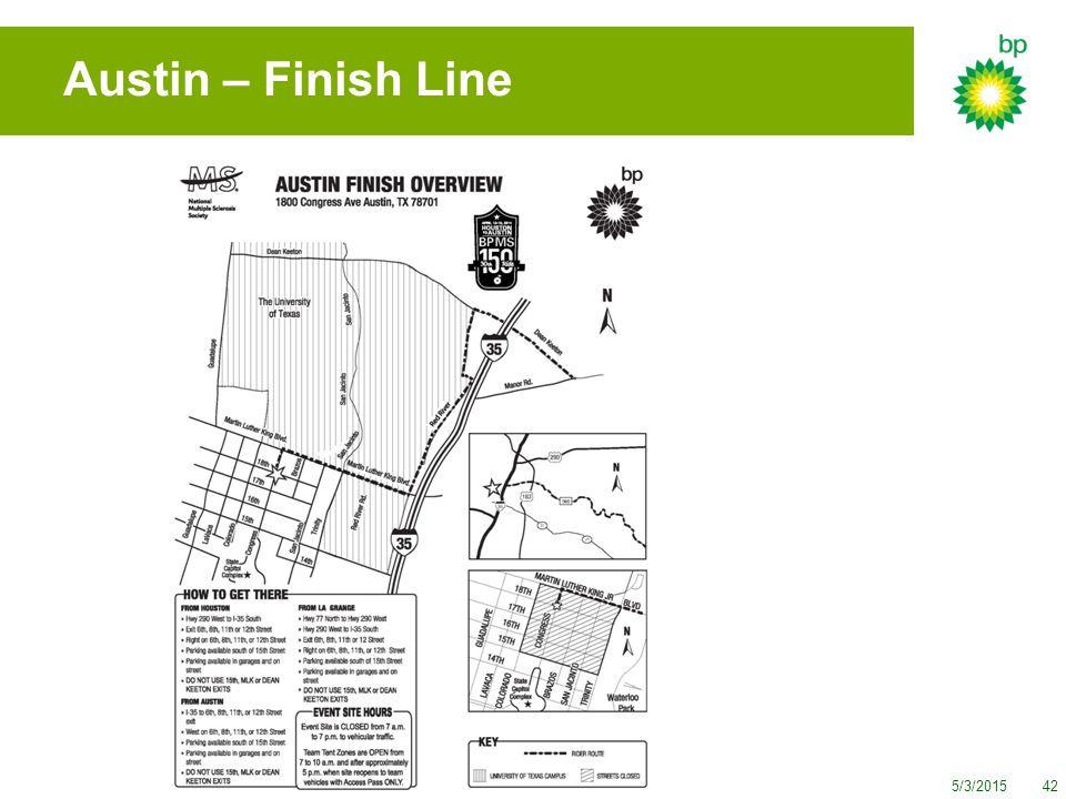 5/3/201542 Austin – Finish Line