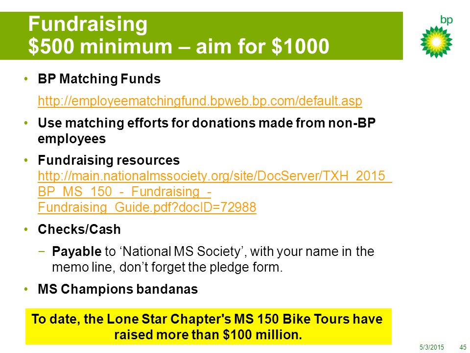 5/3/201545 Fundraising $500 minimum – aim for $1000 BP Matching Funds http://employeematchingfund.bpweb.bp.com/default.asp Use matching efforts for donations made from non-BP employees Fundraising resources http://main.nationalmssociety.org/site/DocServer/TXH_2015_ BP_MS_150_-_Fundraising_- Fundraising_Guide.pdf?docID=72988 http://main.nationalmssociety.org/site/DocServer/TXH_2015_ BP_MS_150_-_Fundraising_- Fundraising_Guide.pdf?docID=72988 Checks/Cash −Payable to 'National MS Society', with your name in the memo line, don't forget the pledge form.