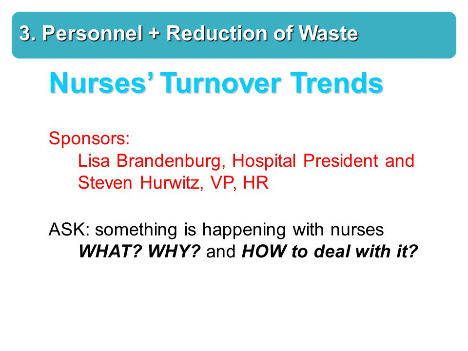Nurses' Turnover Trends Sponsors: Lisa Brandenburg, Hospital President and Steven Hurwitz, VP, HR ASK: something is happening with nurses WHAT.