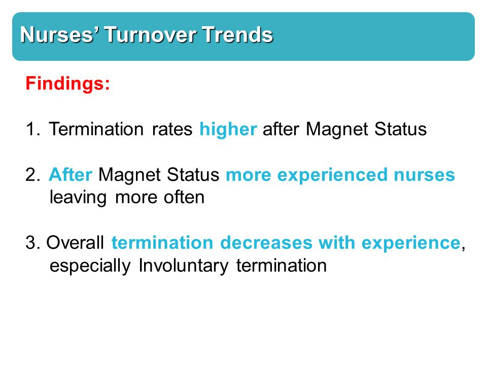 Nurses' Turnover Trends Findings: 1. Termination rates higher after Magnet Status 2.
