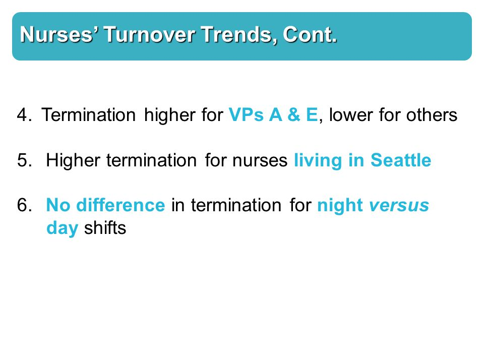 Nurses' Turnover Trends, Cont. 4. Termination higher for VPs A & E, lower for others 5.