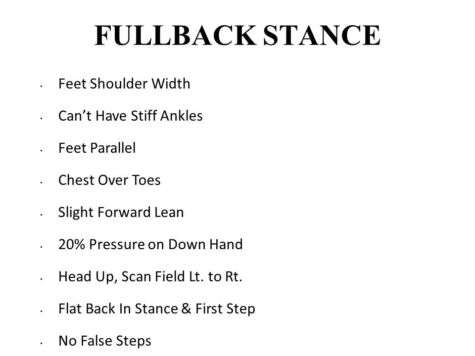 FULLBACK STANCE Feet Shoulder Width Can't Have Stiff Ankles Feet Parallel Chest Over Toes Slight Forward Lean 20% Pressure on Down Hand Head Up, Scan