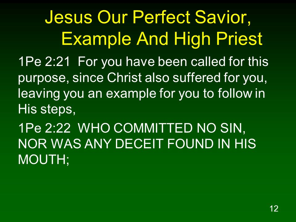 12 Jesus Our Perfect Savior, Example And High Priest 1Pe 2:21 For you have been called for this purpose, since Christ also suffered for you, leaving you an example for you to follow in His steps, 1Pe 2:22 WHO COMMITTED NO SIN, NOR WAS ANY DECEIT FOUND IN HIS MOUTH;