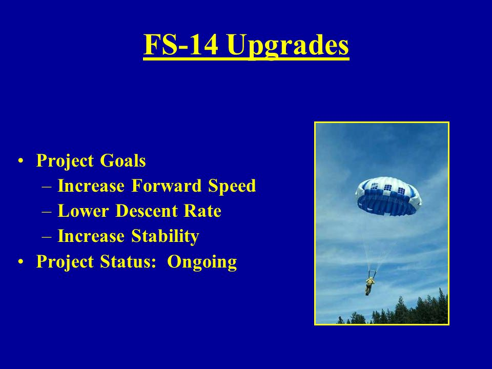 FS-14 Upgrades Project Goals –Increase Forward Speed –Lower Descent Rate –Increase Stability Project Status: Ongoing