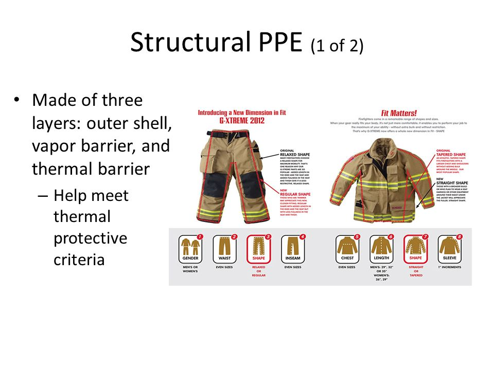 Structural PPE (1 of 2) Made of three layers: outer shell, vapor barrier, and thermal barrier – Help meet thermal protective criteria