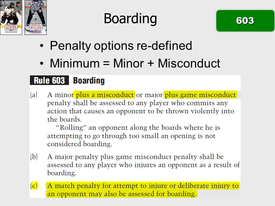 Boarding603 Penalty options re-defined Minimum = Minor + Misconduct