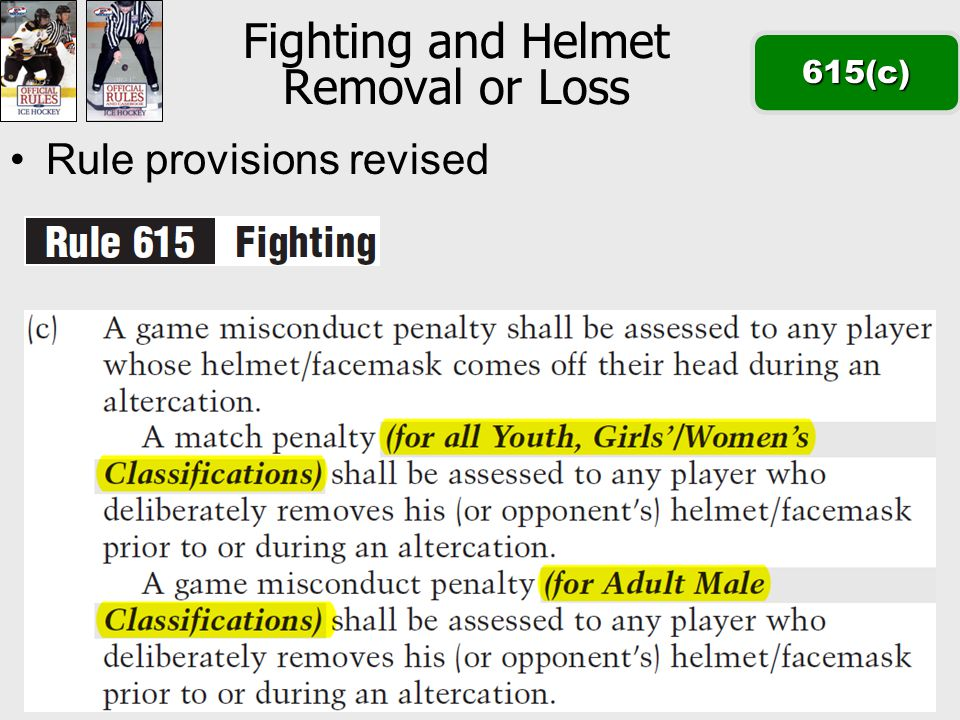 Fighting and Helmet Removal or Loss615(c) Rule provisions revised