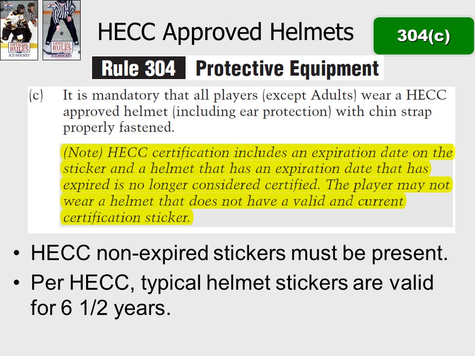 HECC Approved Helmets304(c) HECC non-expired stickers must be present.