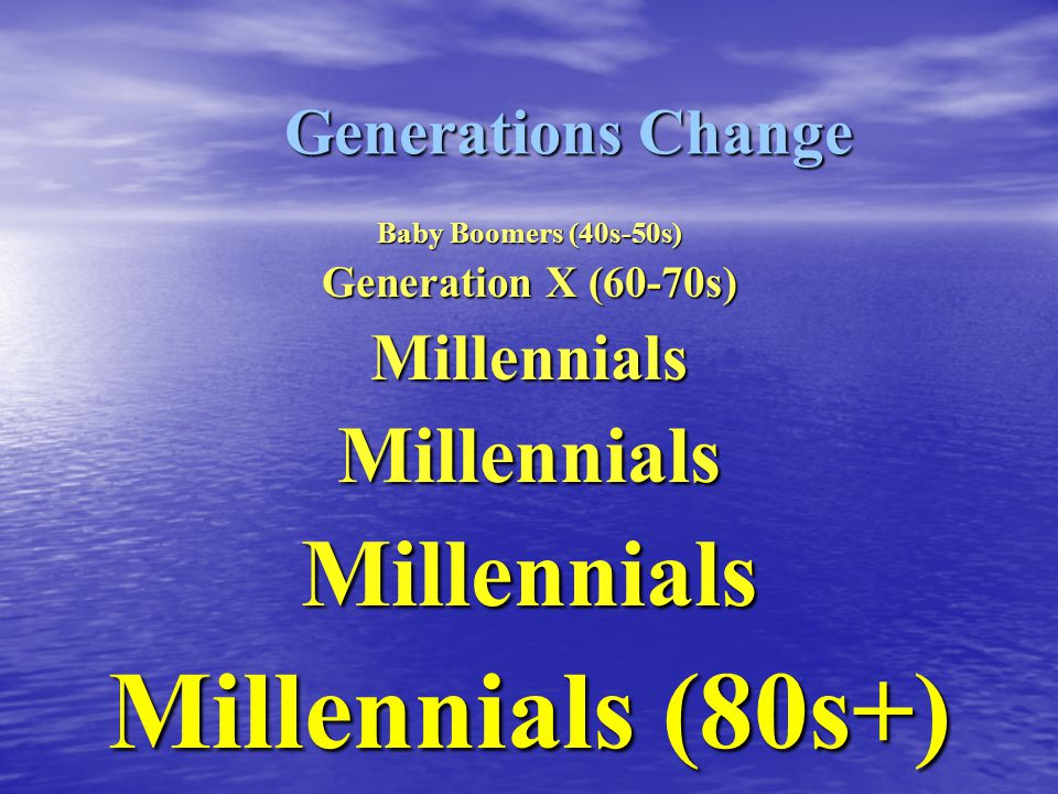 Baby Boomers (40s-50s) Generation X (60-70s) MillennialsMillennialsMillennials Millennials (80s+) Generations Change