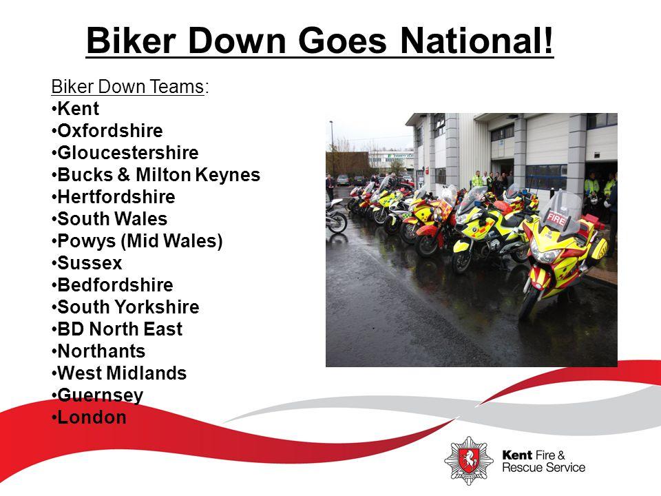 Biker Down Teams: Kent Oxfordshire Gloucestershire Bucks & Milton Keynes Hertfordshire South Wales Powys (Mid Wales) Sussex Bedfordshire South Yorkshi