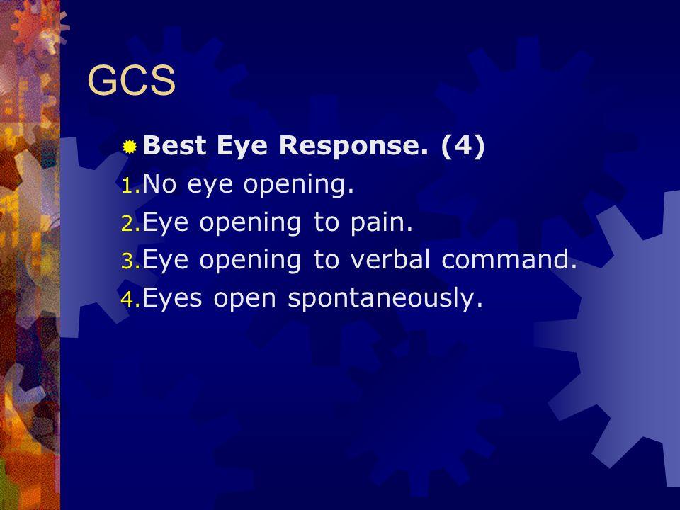 GCS  Best Eye Response. (4) 1. No eye opening. 2. Eye opening to pain. 3. Eye opening to verbal command. 4. Eyes open spontaneously.