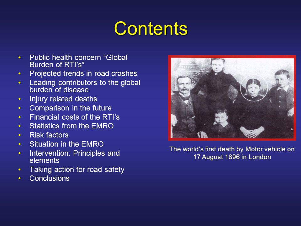 Some of the main Risk Factors for Road Traffic Crashes and Injuries Factors influencing exposure to road traffic: Economic Factors such as level of economic development Demographic factors such as age, gender and place of residence Land use planning practices which influence how long people travel and by which means Mixture of vulnerable road users and high speed motorized traffic Lack of consideration of the ways in which roads will be used when determining speed limits, road design and layout