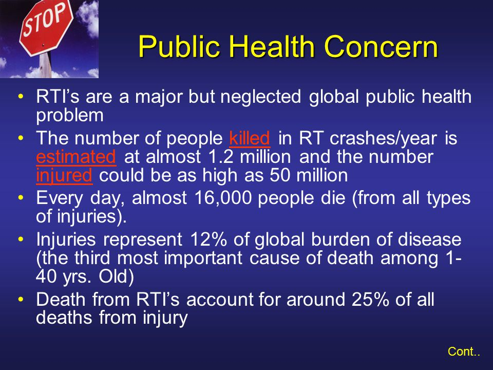 Public Health Concern Estimates of the annual no.
