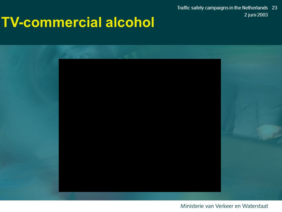 2 juni 2003 Traffic safety campaigns in the Netherlands23 TV-commercial alcohol