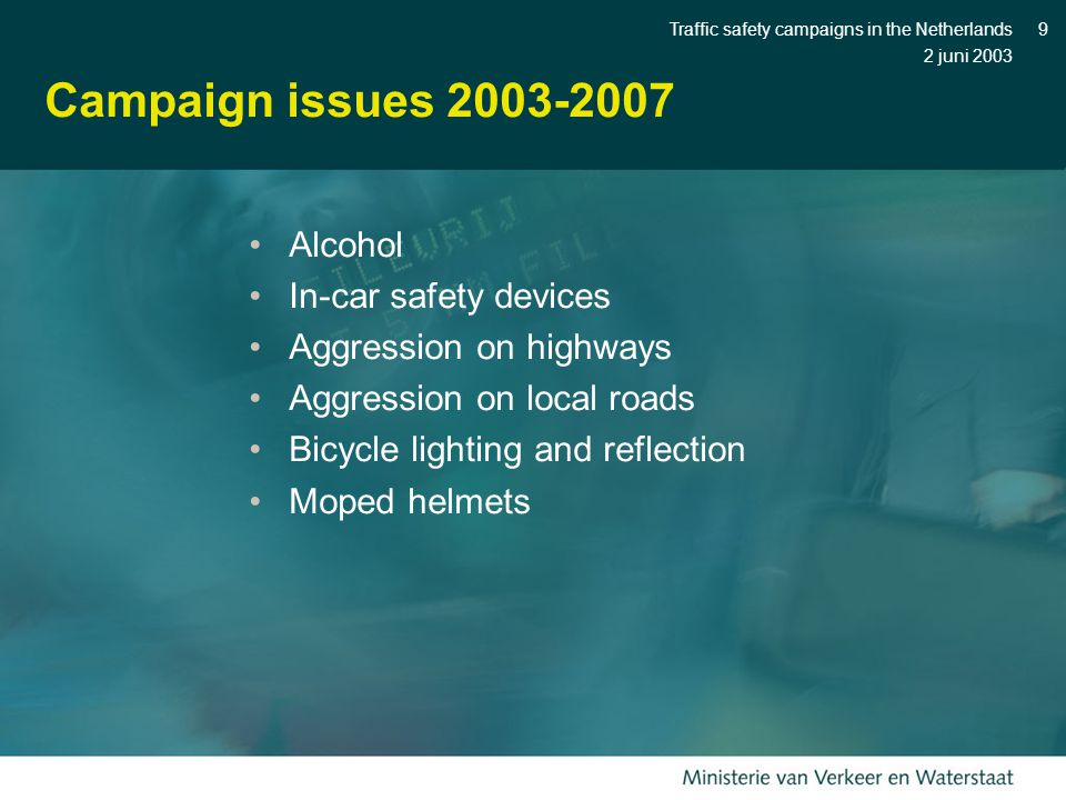 2 juni 2003 Traffic safety campaigns in the Netherlands9 Campaign issues 2003-2007 Alcohol In-car safety devices Aggression on highways Aggression on local roads Bicycle lighting and reflection Moped helmets