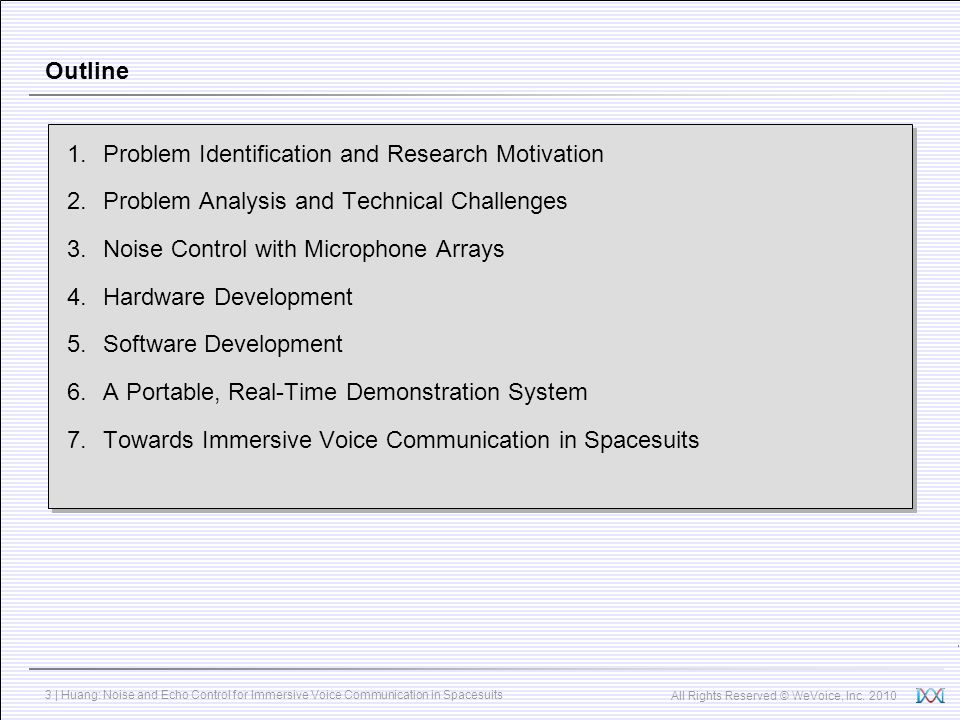 All Rights Reserved © WeVoice, Inc. 2010 3 | Huang: Noise and Echo Control for Immersive Voice Communication in Spacesuits Outline 1.Problem Identific