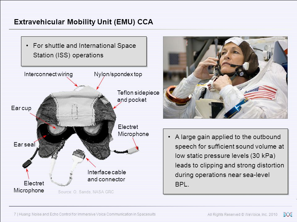 All Rights Reserved © WeVoice, Inc. 2010 7 | Huang: Noise and Echo Control for Immersive Voice Communication in Spacesuits Extravehicular Mobility Uni