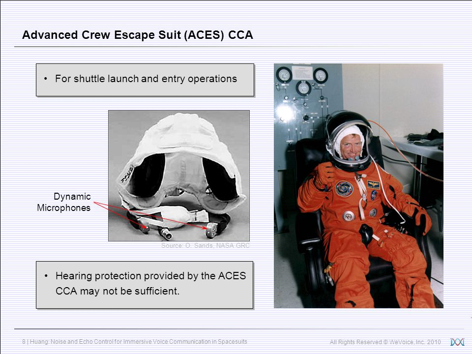 All Rights Reserved © WeVoice, Inc. 2010 8 | Huang: Noise and Echo Control for Immersive Voice Communication in Spacesuits Advanced Crew Escape Suit (