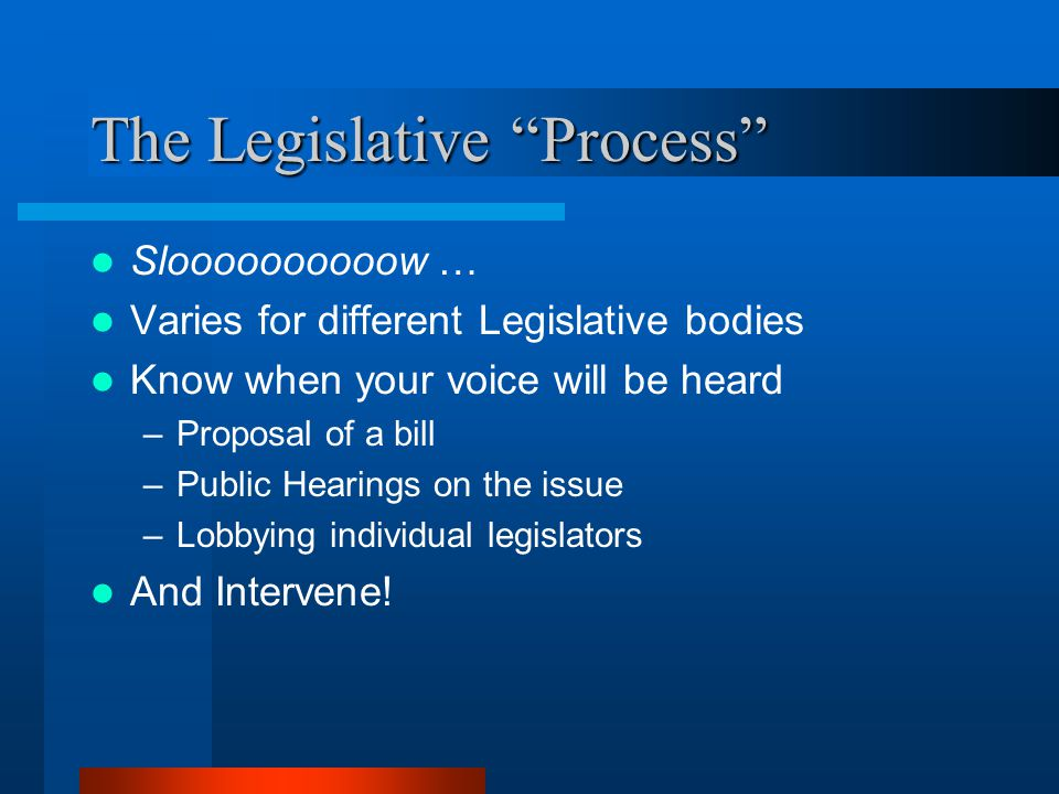 The Legislative Process Sloooooooooow … Varies for different Legislative bodies Know when your voice will be heard –Proposal of a bill –Public Hearings on the issue –Lobbying individual legislators And Intervene!