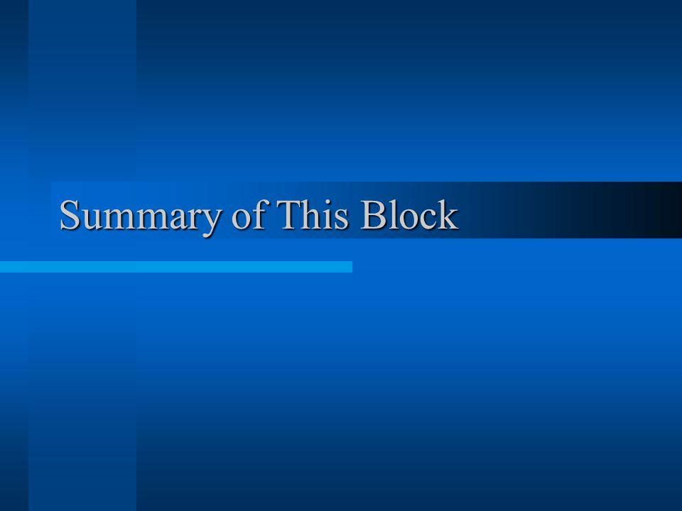 Summary of This Block
