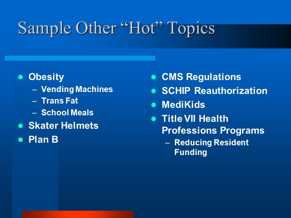 Sample Other Hot Topics Obesity –Vending Machines –Trans Fat –School Meals Skater Helmets Plan B CMS Regulations SCHIP Reauthorization MediKids Title VII Health Professions Programs –Reducing Resident Funding