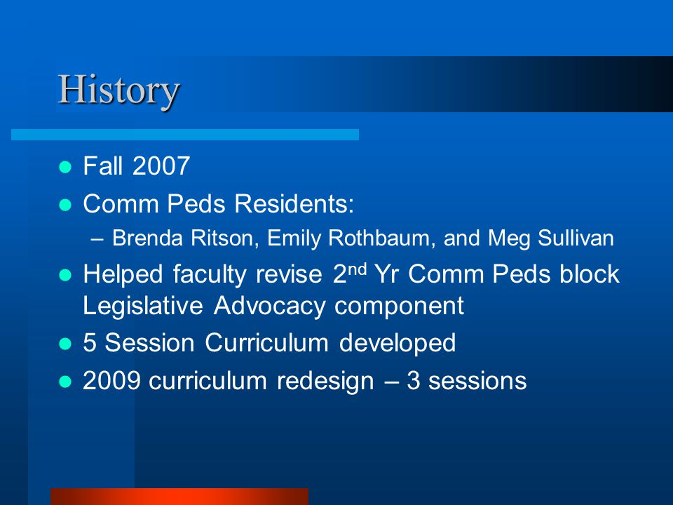 History Fall 2007 Comm Peds Residents: –Brenda Ritson, Emily Rothbaum, and Meg Sullivan Helped faculty revise 2 nd Yr Comm Peds block Legislative Advocacy component 5 Session Curriculum developed 2009 curriculum redesign – 3 sessions