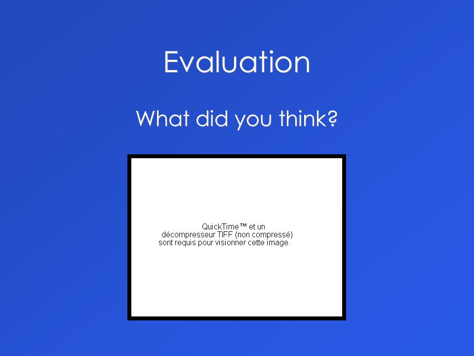 Evaluation What did you think