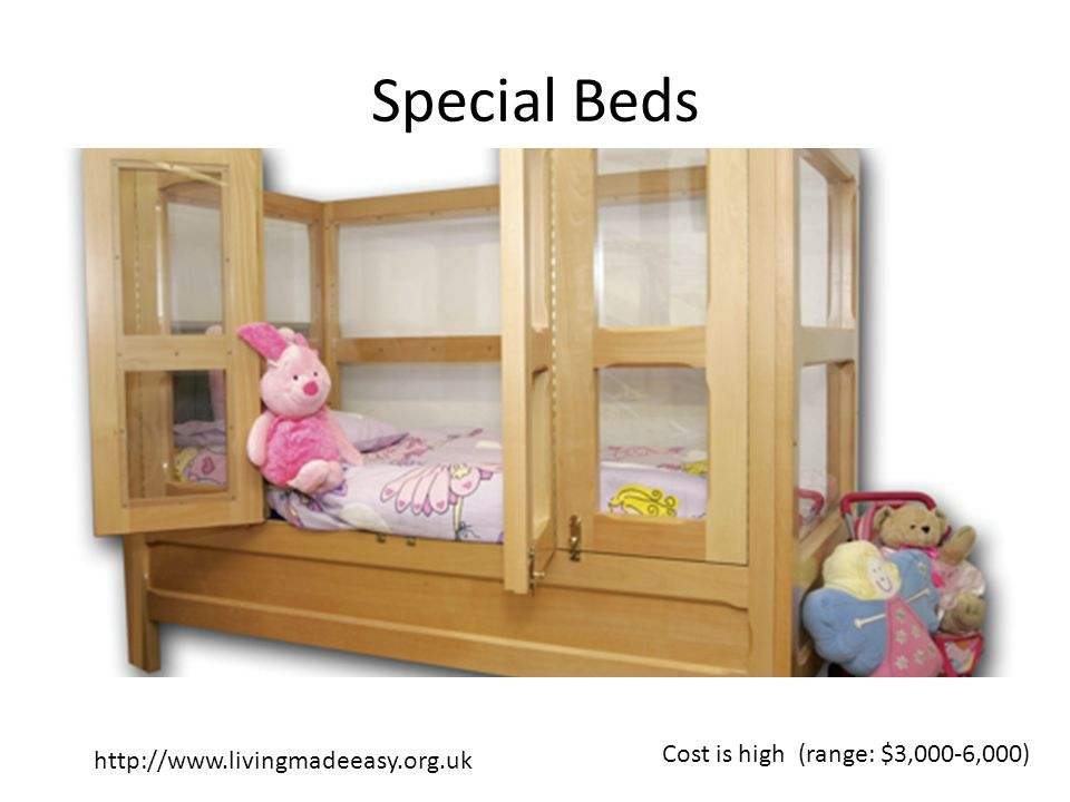 Special Beds http://www.livingmadeeasy.org.uk Cost is high (range: $3,000-6,000)