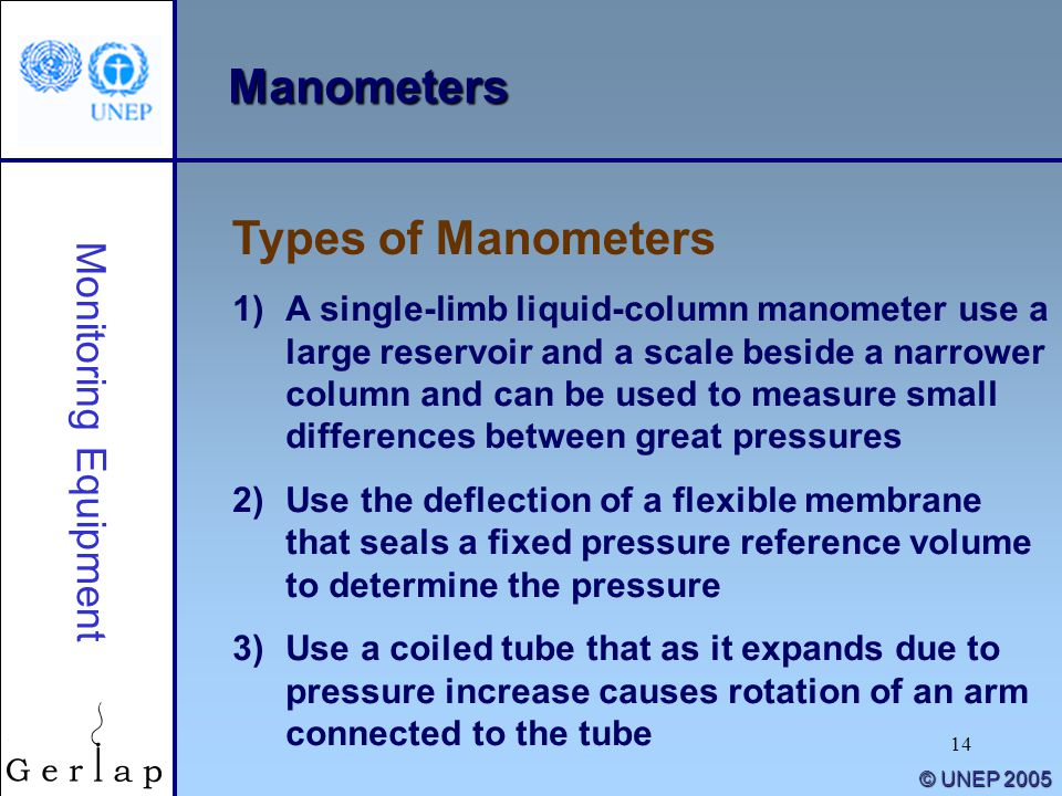 14 © UNEP 2005 Manometers 1)A single-limb liquid-column manometer use a large reservoir and a scale beside a narrower column and can be used to measure small differences between great pressures 2)Use the deflection of a flexible membrane that seals a fixed pressure reference volume to determine the pressure 3)Use a coiled tube that as it expands due to pressure increase causes rotation of an arm connected to the tube Monitoring Equipment Types of Manometers