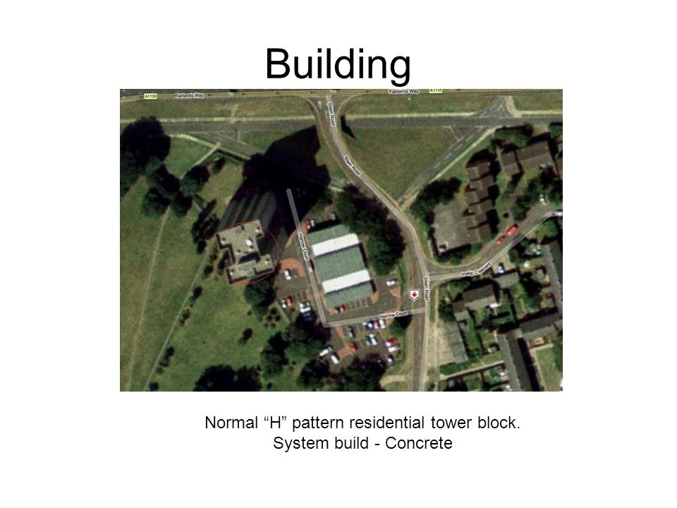 """Building Normal """"H"""" pattern residential tower block. System build - Concrete"""