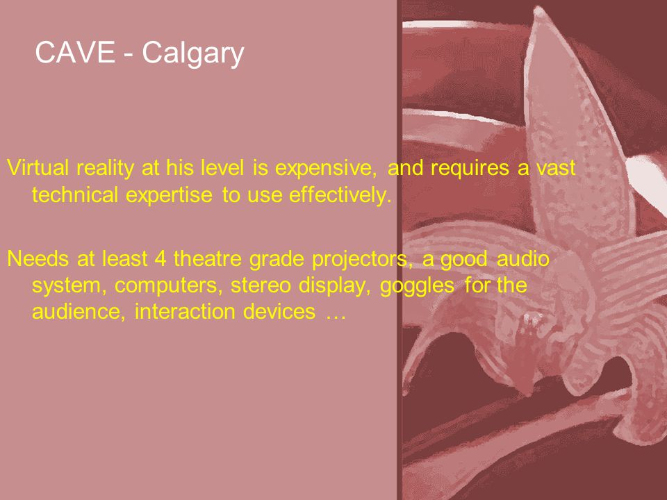 CAVE - Calgary Virtual reality at his level is expensive, and requires a vast technical expertise to use effectively.