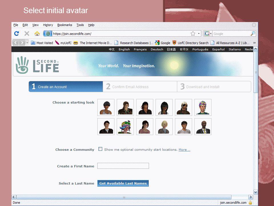 Select initial avatar