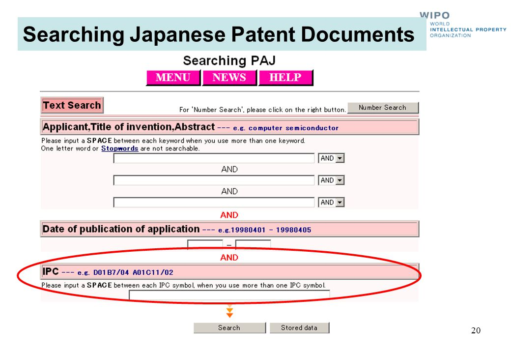 Searching Japanese Patent Documents 20