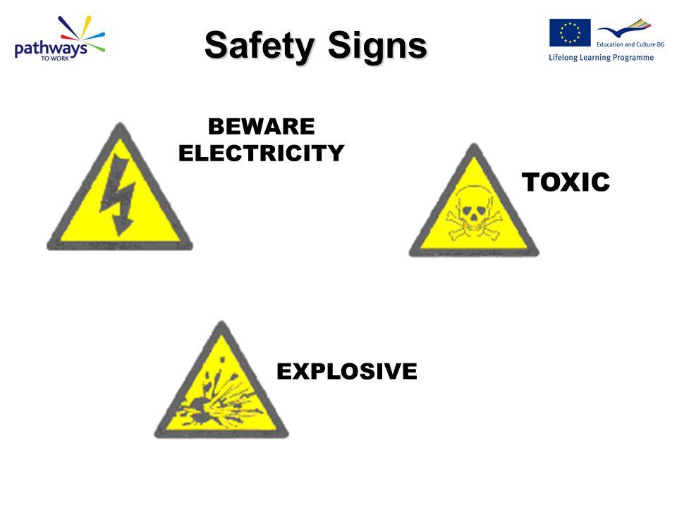 FLAMMABLE SUBSTANCE WARNING - LASER BEAMS Yellow + Black = HAZARD WARNING