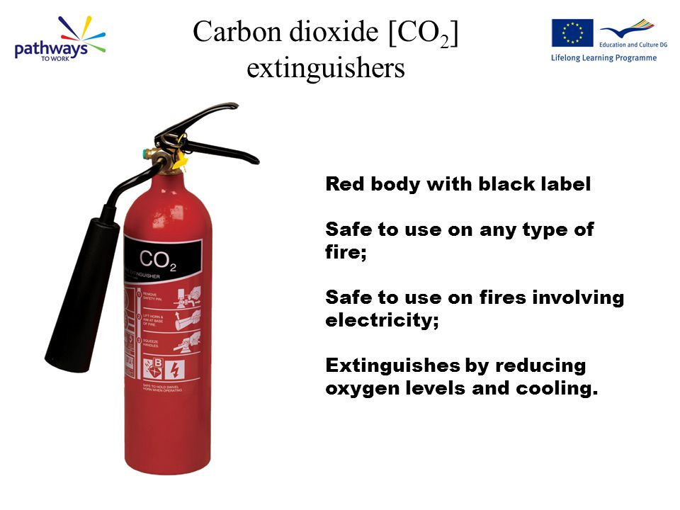 Powder extinguishers Red body with blue label.Safe to use on any type of fire.