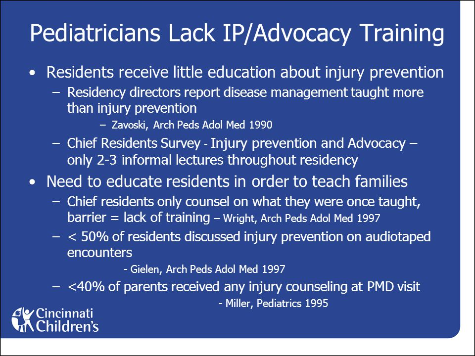 Pediatricians Lack IP/Advocacy Training Residents receive little education about injury prevention –Residency directors report disease management taught more than injury prevention –Zavoski, Arch Peds Adol Med 1990 –Chief Residents Survey - Injury prevention and Advocacy – only 2-3 informal lectures throughout residency Need to educate residents in order to teach families –Chief residents only counsel on what they were once taught, barrier = lack of training – Wright, Arch Peds Adol Med 1997 –< 50% of residents discussed injury prevention on audiotaped encounters - Gielen, Arch Peds Adol Med 1997 –<40% of parents received any injury counseling at PMD visit - Miller, Pediatrics 1995