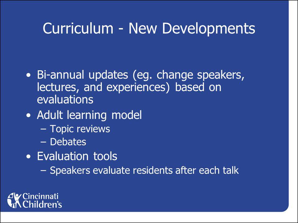 Curriculum - New Developments Bi-annual updates (eg.
