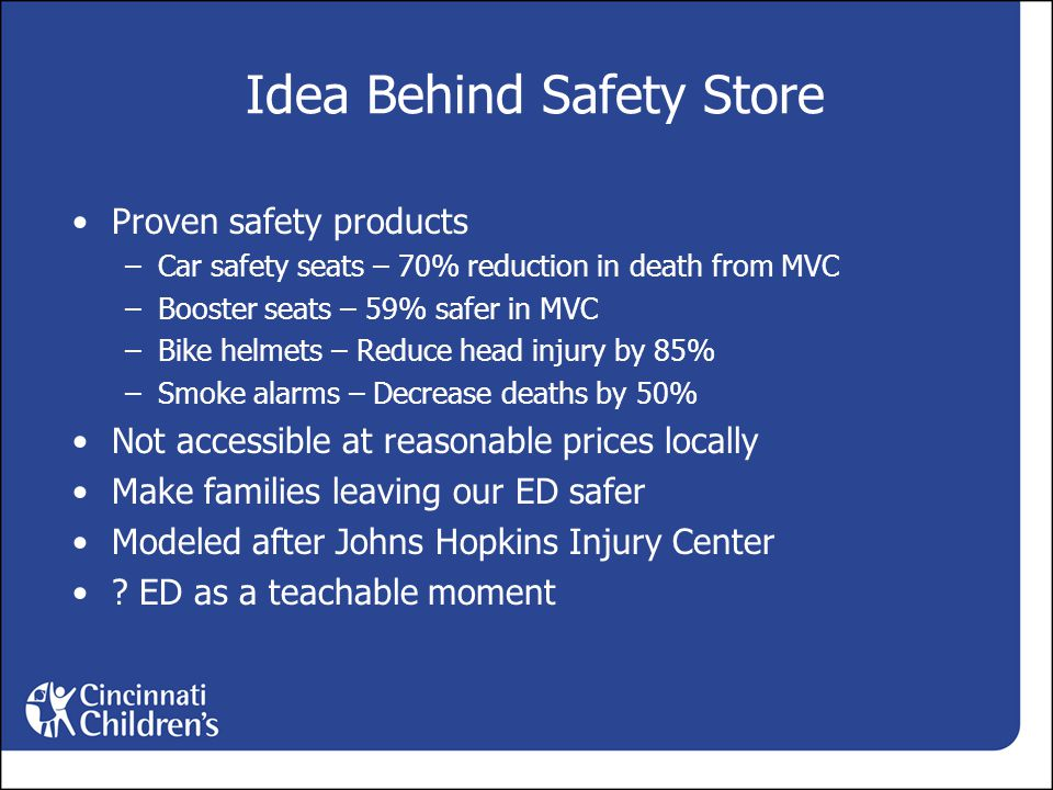 Idea Behind Safety Store Proven safety products –Car safety seats – 70% reduction in death from MVC –Booster seats – 59% safer in MVC –Bike helmets – Reduce head injury by 85% –Smoke alarms – Decrease deaths by 50% Not accessible at reasonable prices locally Make families leaving our ED safer Modeled after Johns Hopkins Injury Center .