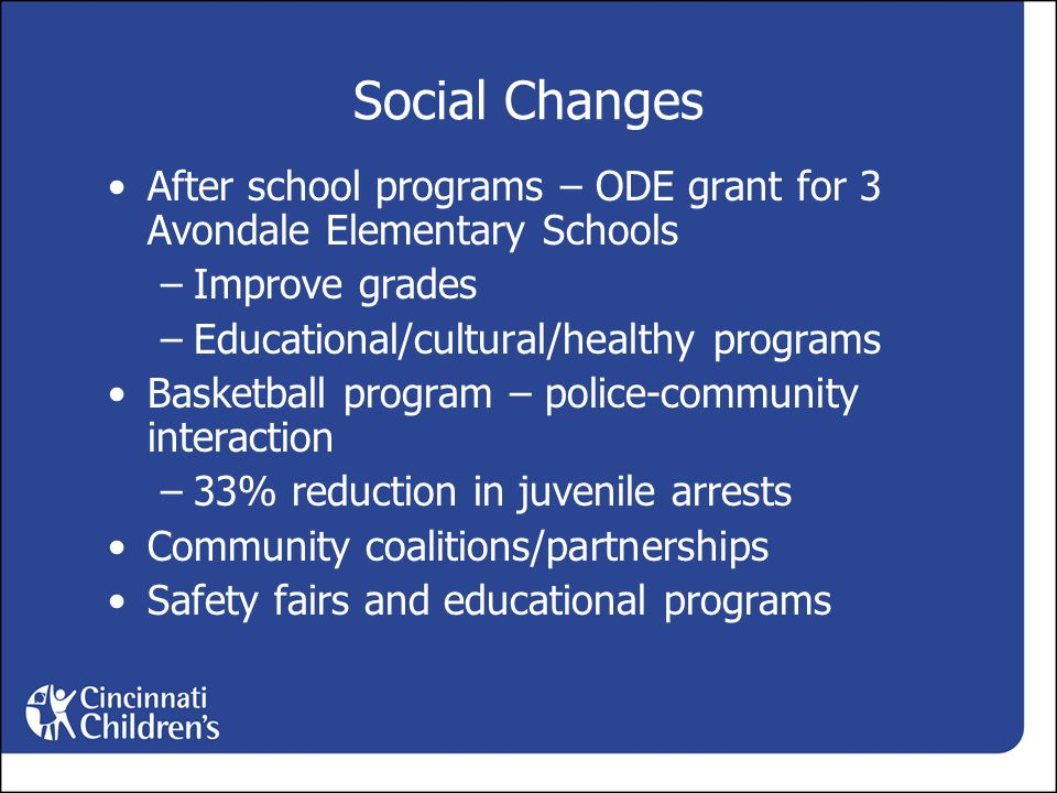 Social Changes After school programs – ODE grant for 3 Avondale Elementary Schools –Improve grades –Educational/cultural/healthy programs Basketball program – police-community interaction –33% reduction in juvenile arrests Community coalitions/partnerships Safety fairs and educational programs