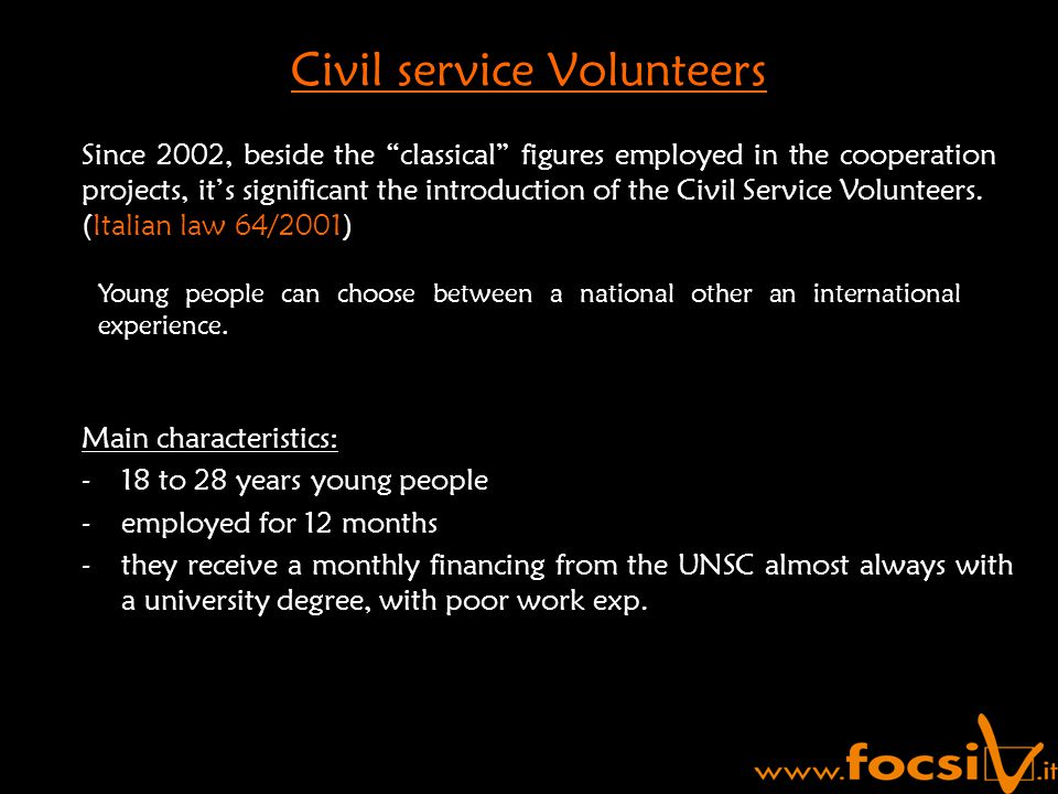 Main characteristics: -18 to 28 years young people -employed for 12 months -they receive a monthly financing from the UNSC almost always with a university degree, with poor work exp.