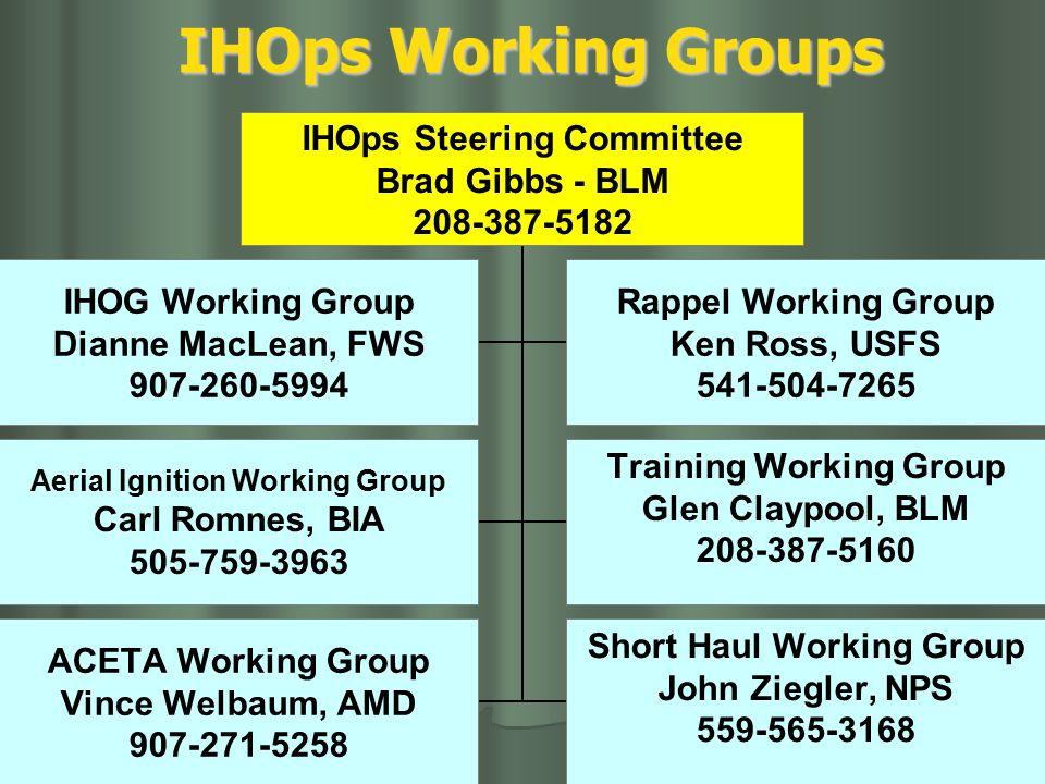 IHOps Working Groups IHOps Steering Committee Brad Gibbs - BLM 208-387-5182 IHOG Working Group Dianne MacLean, FWS 907-260-5994 Rappel Working Group Ken Ross, USFS 541-504-7265 Aerial Ignition Working Group Carl Romnes, BIA 505-759-3963 Training Working Group Glen Claypool, BLM 208-387-5160 ACETA Working Group Vince Welbaum, AMD 907-271-5258 Short Haul Working Group John Ziegler, NPS 559-565-3168