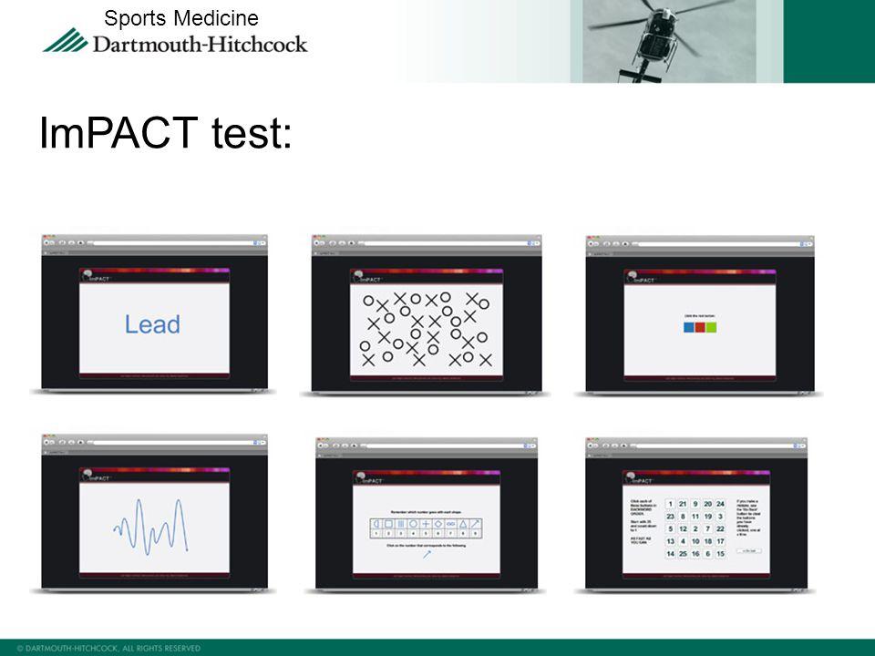 ImPACT test: Sports Medicine