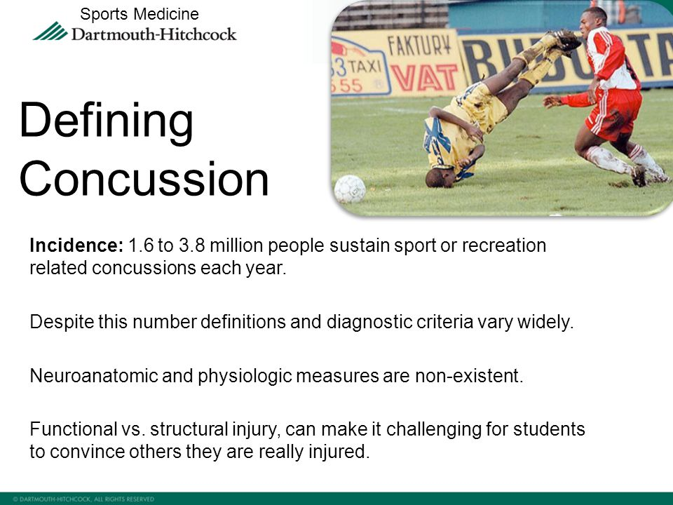 Incidence: 1.6 to 3.8 million people sustain sport or recreation related concussions each year.