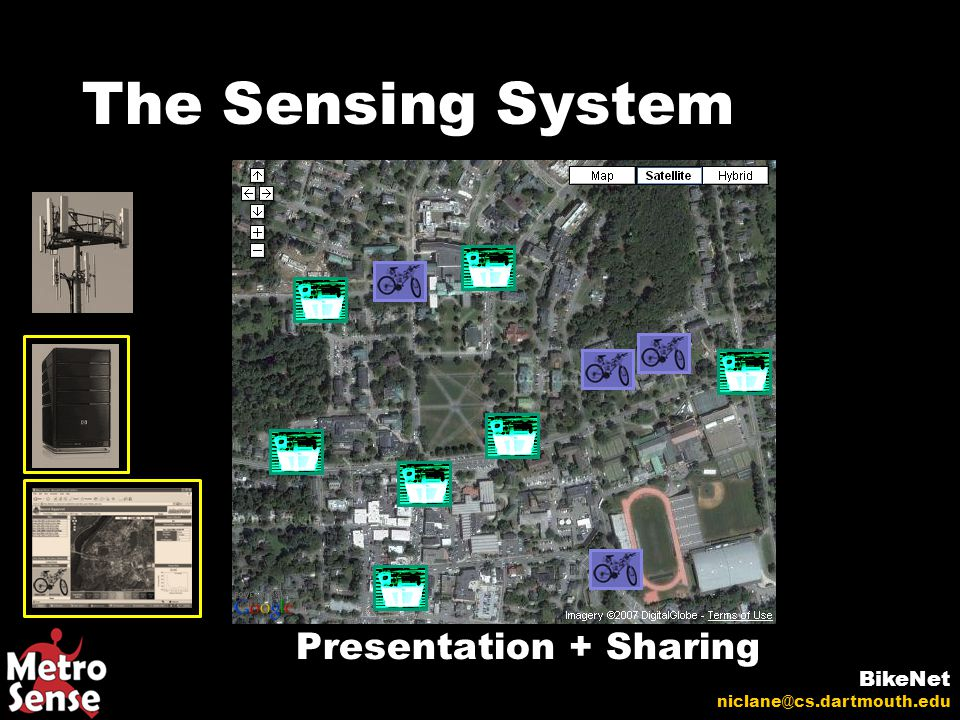The Sensing System BikeNet niclane@cs.dartmouth.edu Presentation + Sharing