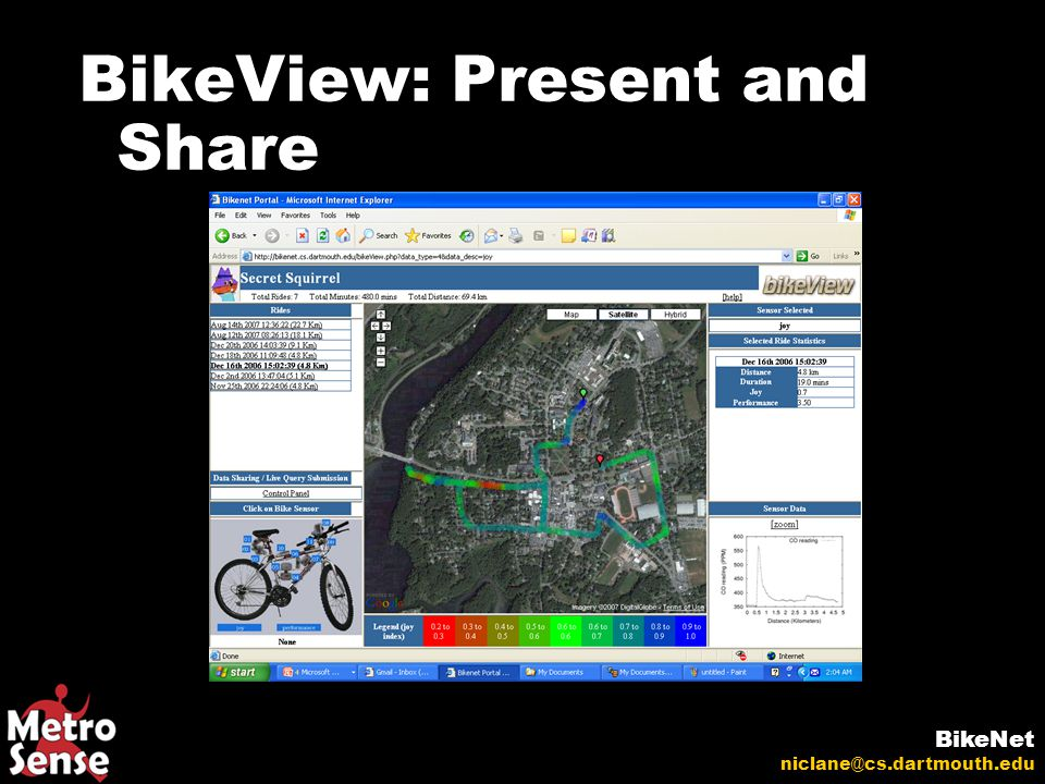 BikeView: Present and Share BikeNet niclane@cs.dartmouth.edu